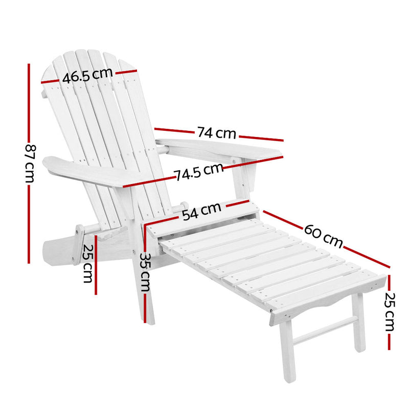 Gardeon Adirondack Beach Chair with Ottoman - White