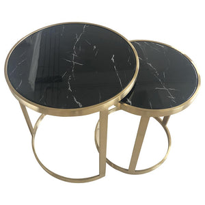Splendour Side Table Set Black Marble