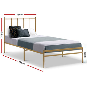 Metal Bed Frame Single Size Mattress Base Platform Foundation Wooden Gold Amor