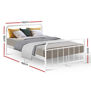 Metal Bed Frame Double Size Platform Foundation Mattress Base Leo White