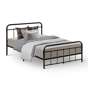 Metal Bed Frame King Single Size Platform Foundation Mattress Base Leo Black
