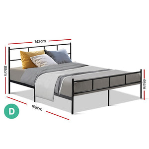 Metal Bed Frame Double Size Platform Foundation Mattress Base SOL Black