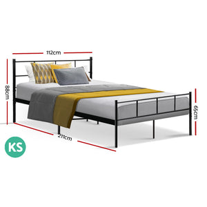 Metal Bed Frame King Single Size Platform Foundation Mattress Base SOL Black