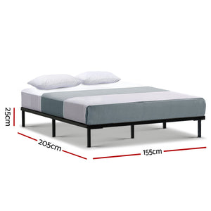 Metal Bed Frame Queen Size Mattress Base Platform Foundation Wooden Black TED