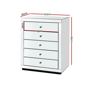 Artiss Chest of Drawers Mirrored Tallboy 5 Drawers Dresser Table Storage Cabinet
