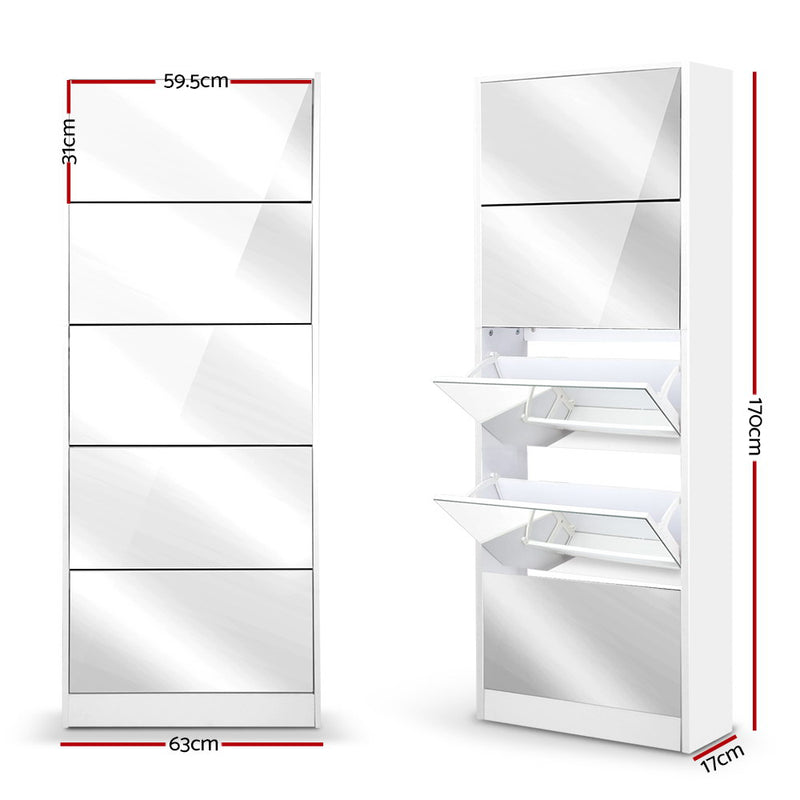 Artiss 5 Drawer Mirrored Wooden Shoe Cabinet - White