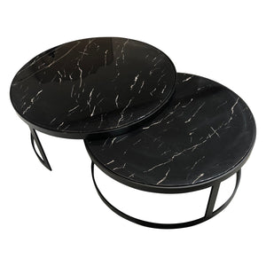 Glory Coffee Table Set Black Marble