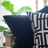 Cotton Reverse Black Beige Lounge Cushion 55 x 55cm - House of Isabella AU