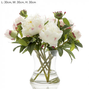 Artificial Peony in Water in Glass Vase White