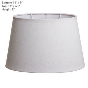 Medium Oval Lamp Shade  - Textured Ivory - Linen Lamp Shade with E27 Fixture