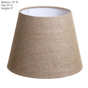 Small Taper Lamp Shade  - Dark Natural Linen - Linen Lamp Shade with E27 Fixture