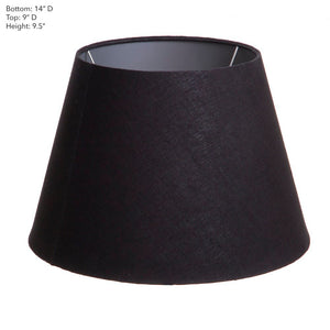 Medium Taper Lamp Shade - Black with Silver Lining - Linen Lamp Shade with E27 Fixture