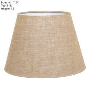 Medium Taper Lamp Shade - Dark Natural Linen - Linen Lamp Shade with E27 Fixture