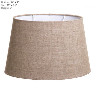 Medium Oval Lamp Shade  - Dark Natural Linen - Linen Lamp Shade with E27 Fixture