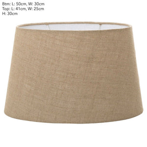 XXL Oval Lamp Shade - Dark Natural Linen - Linen Lamp Shade with E27 Fixture