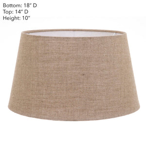 XXL Drum Lamp Shade - Dark Natural Linen - Linen Lamp Shade with E27 Fixture