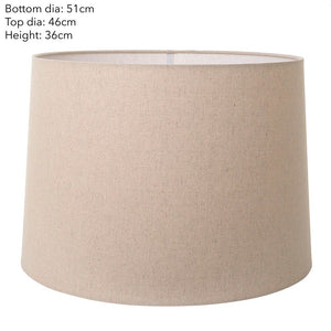 XXXL Drum Lamp Shade - Dark Natural Linen - Linen Lamp Shade with E27 Fixture