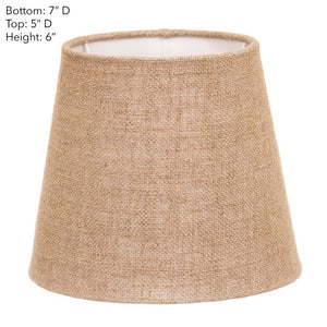 XXS Taper Lamp Shade - Dark Natural Linen - Linen Lamp Shade with E27 Fixture