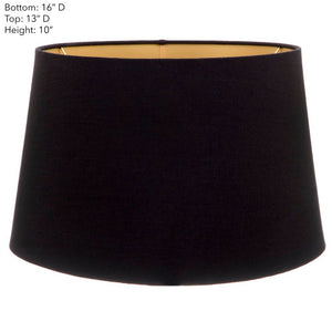 Large Drum Lamp Shade - Black with Gold Lining - Linen Lamp Shade with E27 Fixture