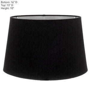 Large Drum Lamp Shade  - Black with Silver Lining - Linen Lamp Shade with E27 Fixture