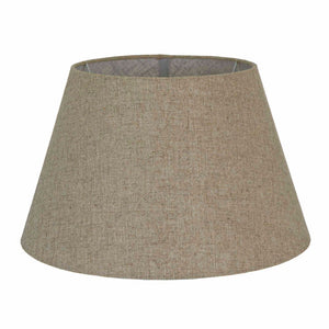 XL Taper Lamp Shade - Dark Natural Linen - Linen Lamp Shade with E27 Fixture