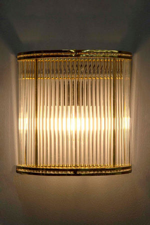 Verre Half Round Glass Wall Lamp Brass