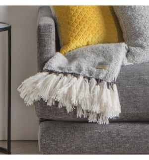 Woven Wrap Tassel Throw Grey