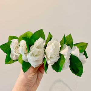 White Silk Flower Crown with Greenery