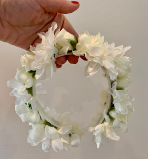 white bridal floral headband