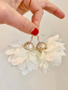 White Floral Earrings with Gold and White Animal Print Beads