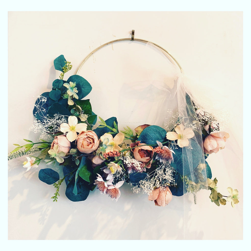 Gold Hoop Wreath (Peach and Greenery Colors)