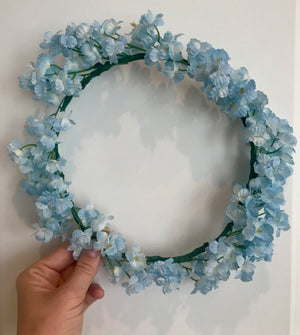baby blue flower crown