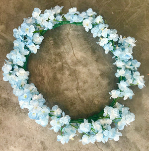 blue silk flower crown