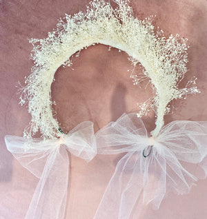 Dried Flower Crown: Dried Baby's Breath with Light Pink Tulle Ribbon Closure