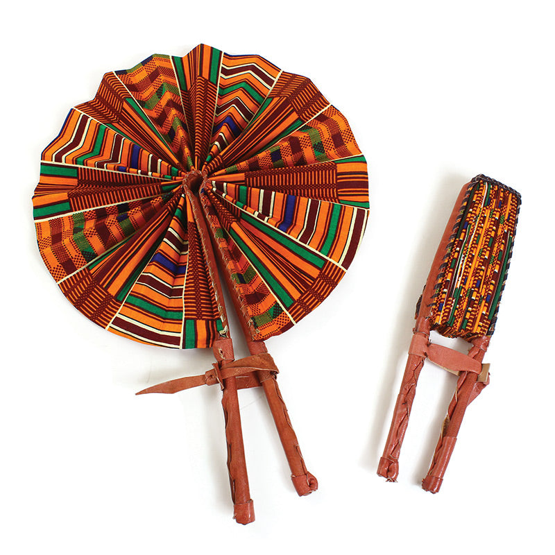 Ankara Fabric Foldable Round Fan with Leather Trim Handle (Made in Ghana 🇬🇭)