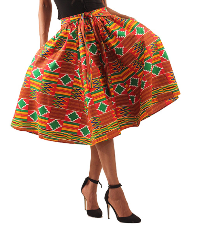 Red Kente Elastic African Mid Length Skirt