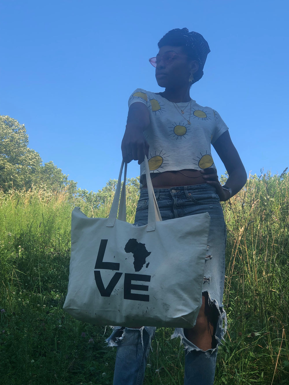 Love Africa Large Canvas Tote