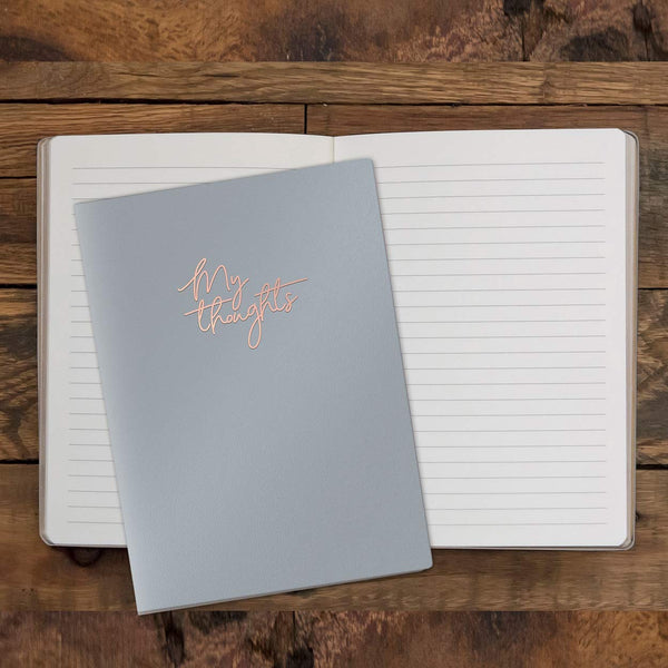 Studio Oh! Medium Leatheresque Journal Available in 10 Colors, My Thoughts Dove Gray