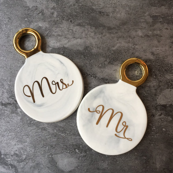 His and Hers Marble Swirl Coasters