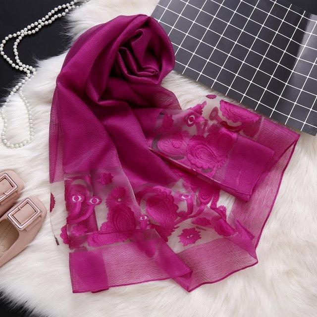 Chelsea Embroidered Silk Scarf