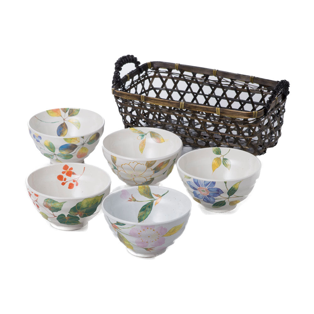 Hanadayori 5-Piece Flower Designed Rice Bowl Set With Bamboo Basket - White