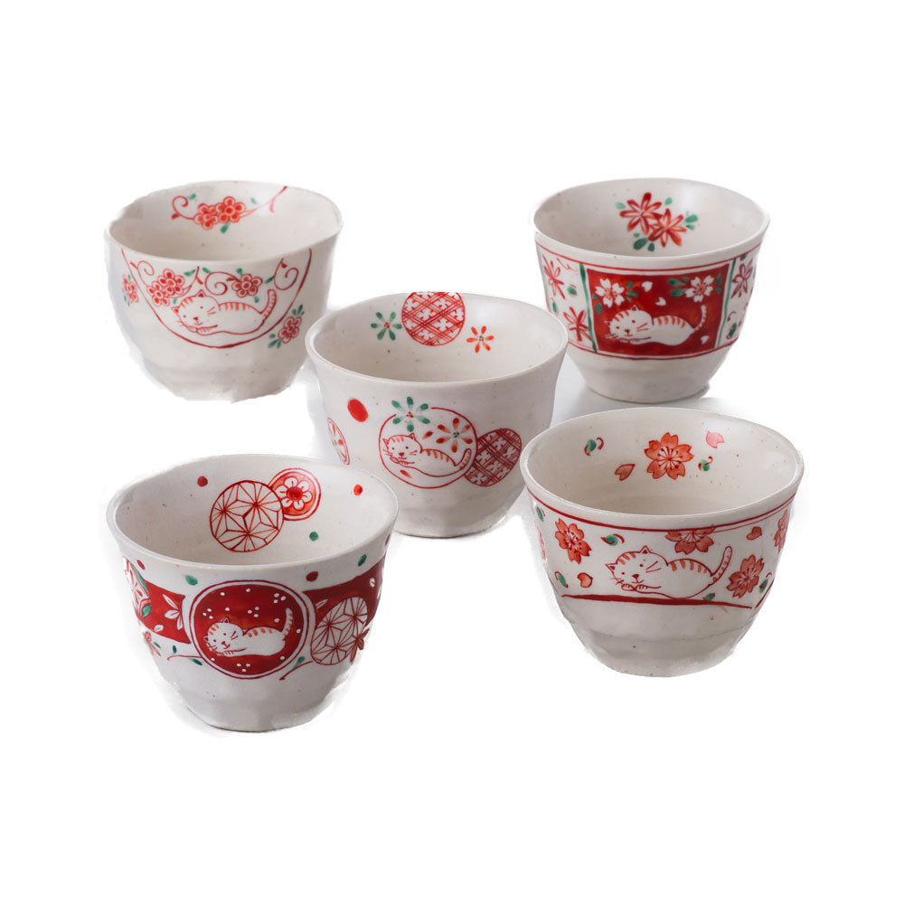 Akae-Neko Red and White Small Multi-Purpose Bowls Set of 5 - Cats and Flowers