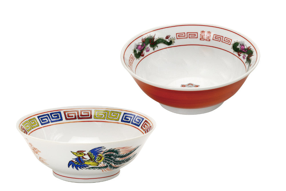 Traditional Red and White Ramen Bowl Set - Fenghuang and Dragon