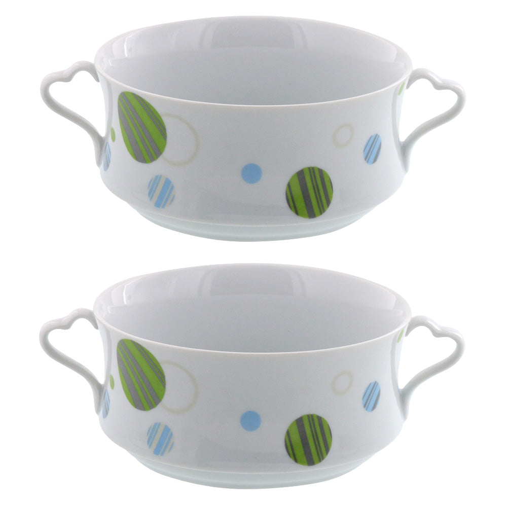Double Handled Soup Bowls Set of 2 - White with Polka Dots