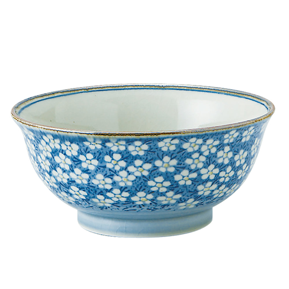 Sosyun Blue Donburi Bowl - Flowers