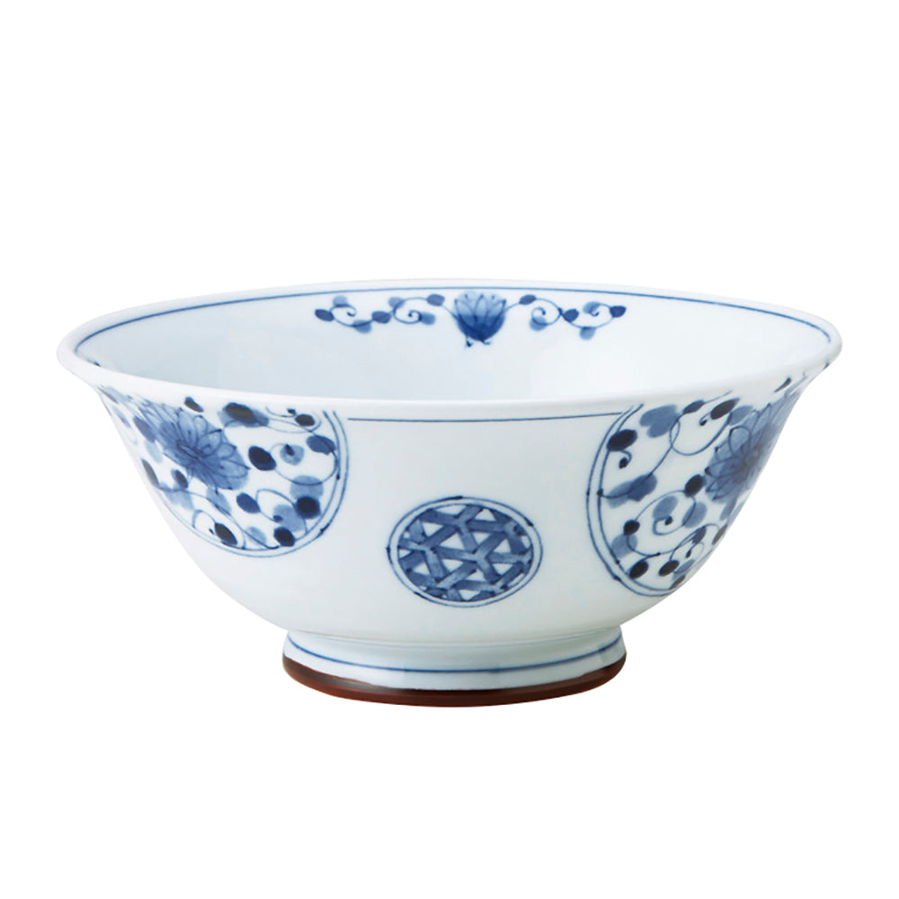 Blue and White Donburi Bowl - Flowers and Vines