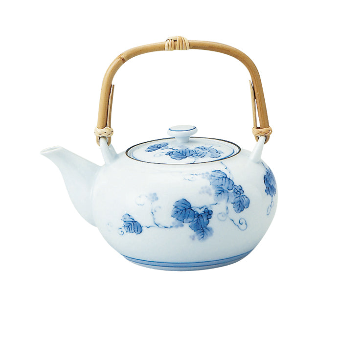 Grape Ivy Blue and White Teapot with Infuser