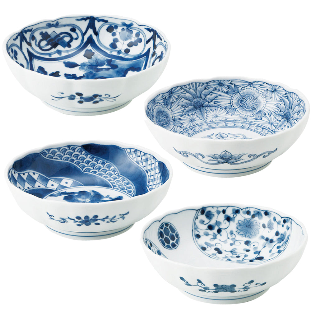 Multi-Purpose Bowl Set of 4 - Blue and White