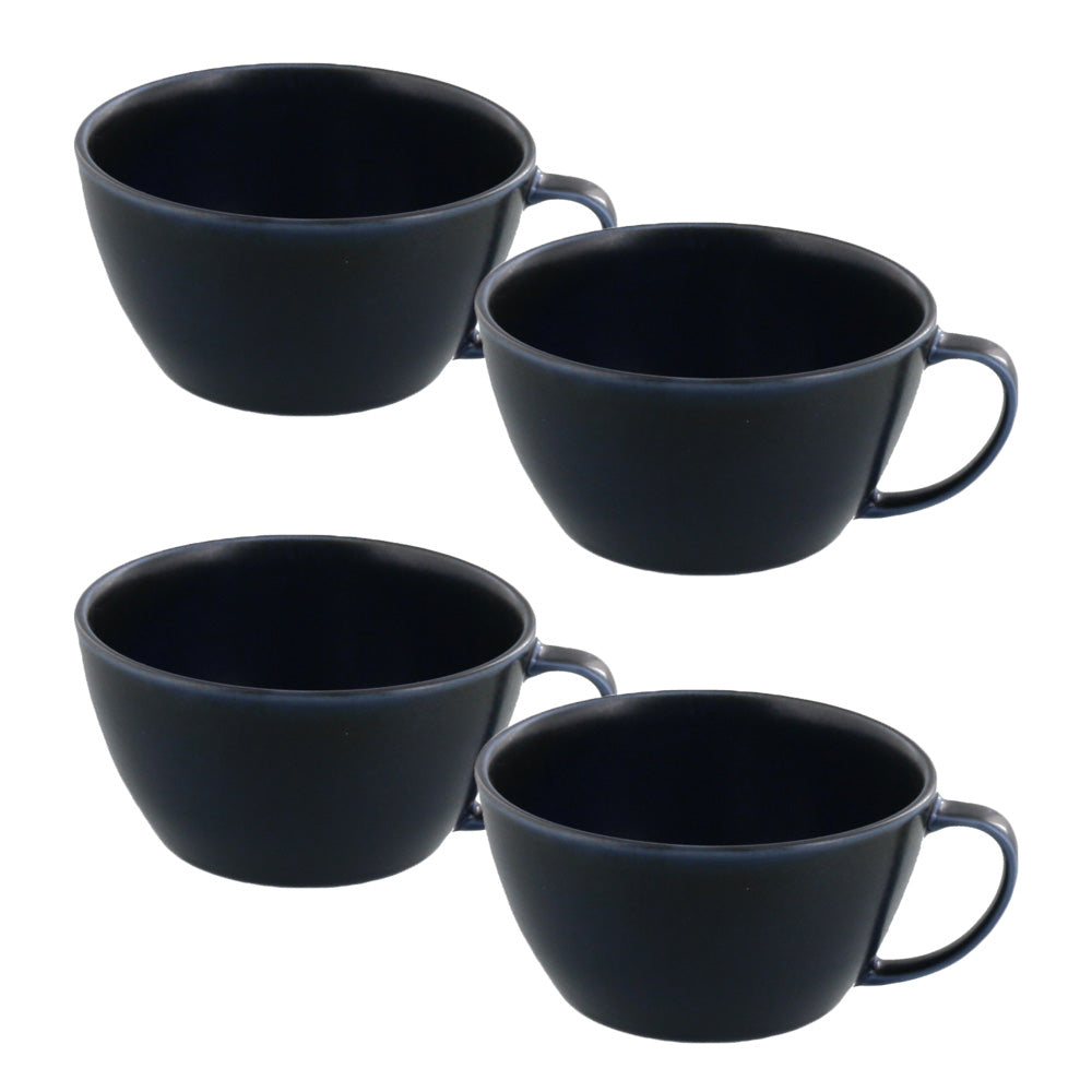 10.8 oz Lightweight Soup Bowls/Mugs with Handle Set of 4 - Navy Blue