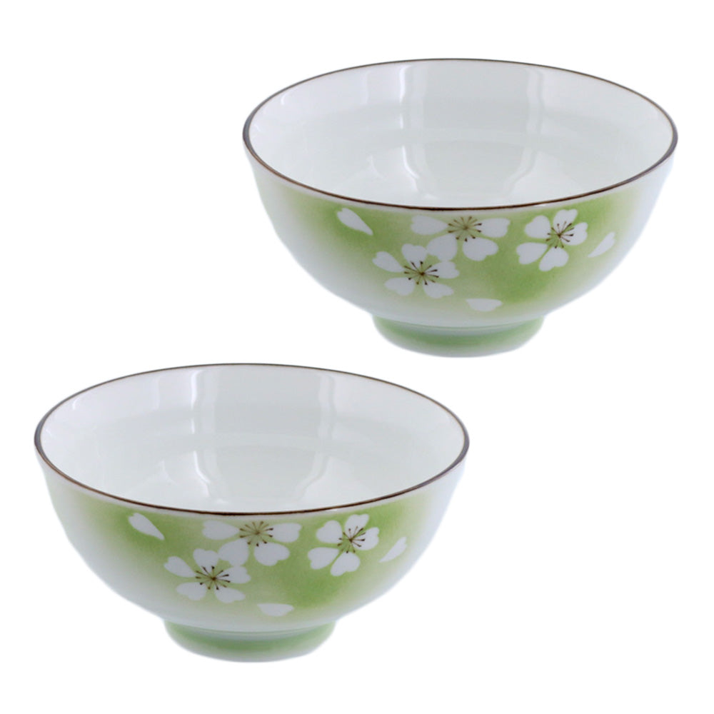 "Hanafubuki 4.6"" Porcelain Floral Rice Bowls Set of 2 - Green"